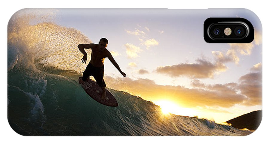 Action IPhone X Case featuring the photograph Skimboarding At Sunset I by MakenaStockMedia - Printscapes
