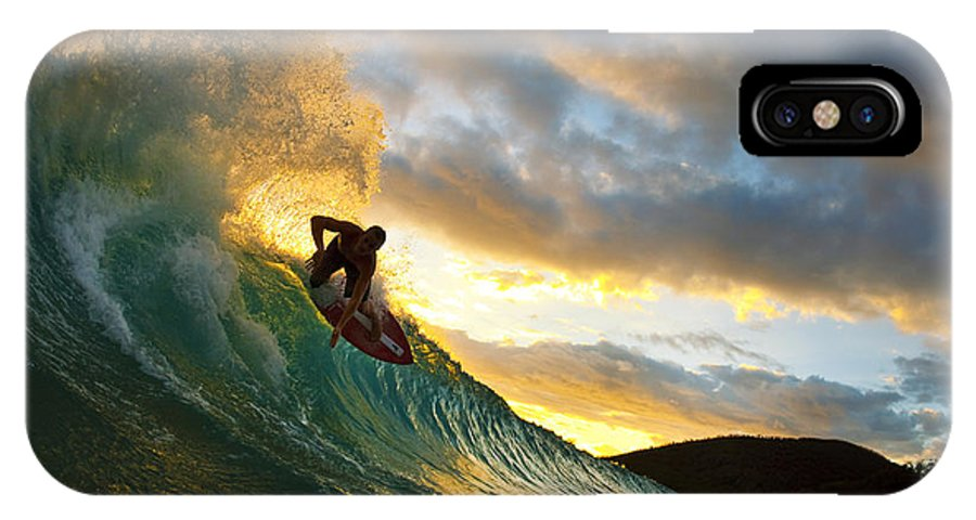 Action IPhone X Case featuring the photograph Skimboarding at Sunset II by MakenaStockMedia - Printscapes