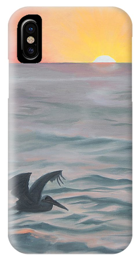 Seascape IPhone X Case featuring the painting Skimming The Surface by Darlene Weaver