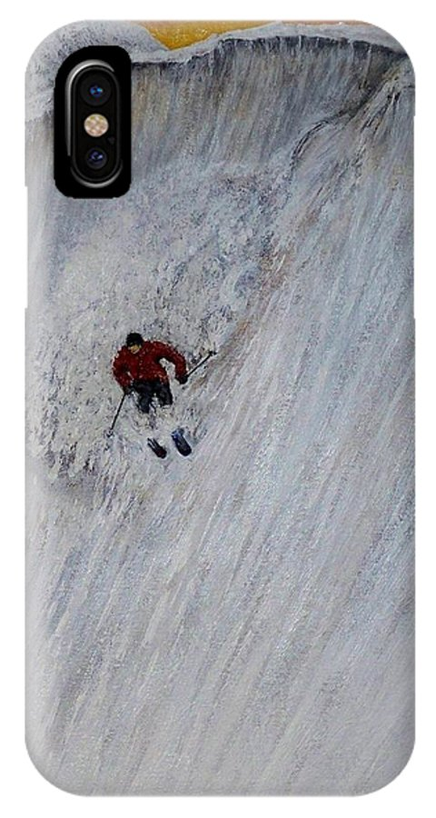 Landscape IPhone X Case featuring the painting Skitilthend by Michael Cuozzo