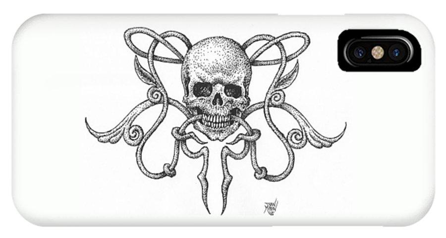 Skull IPhone X Case featuring the drawing Skull Design by Dan Moran