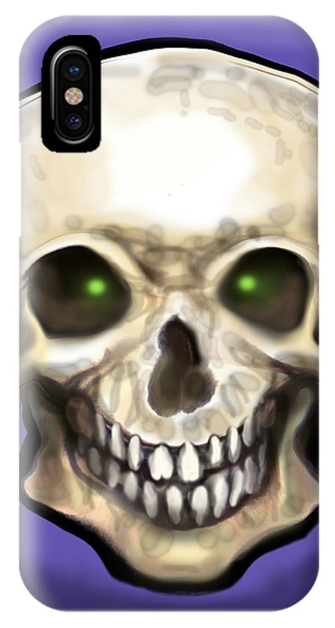 Skull IPhone X Case featuring the painting Skull by Kevin Middleton