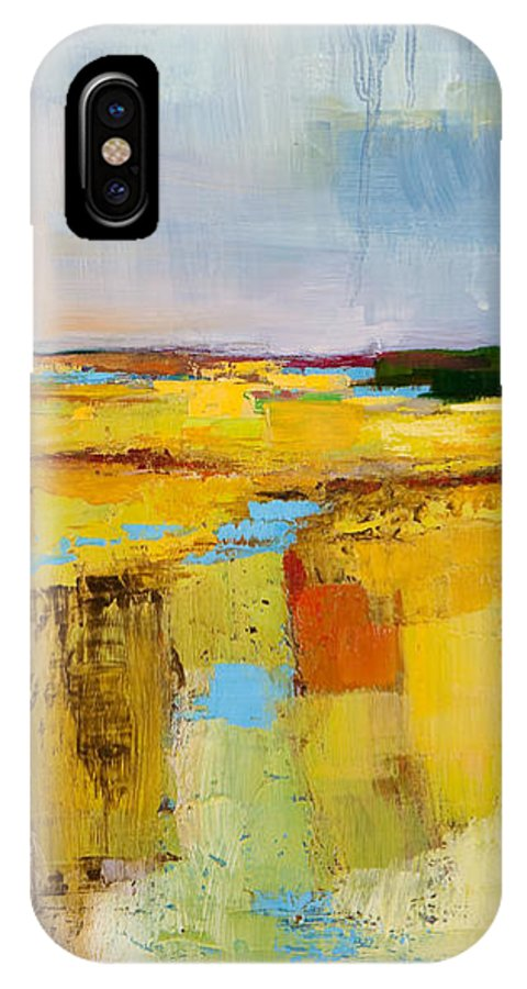 Landscape IPhone X Case featuring the painting Sky And Marsh by Michele Norris