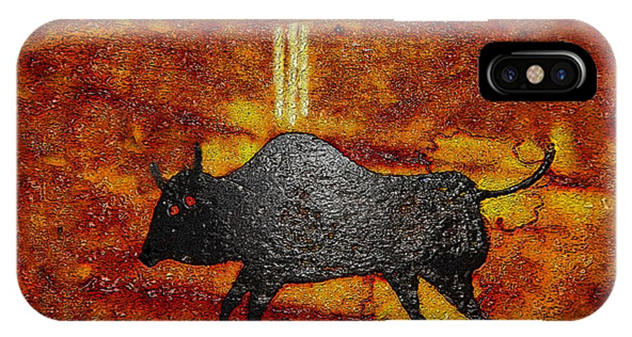Art IPhone X Case featuring the painting Sky People Taking Buffalo by David Lee Thompson