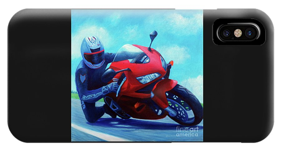 Motorcycle IPhone Case featuring the painting Sky Pilot - Honda Cbr600 by Brian Commerford