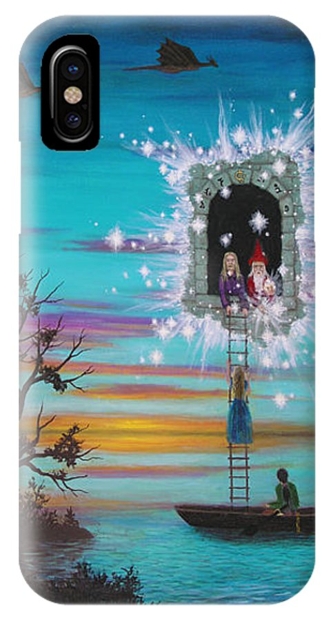 Fantasy IPhone X Case featuring the painting Sky Window by Roz Eve