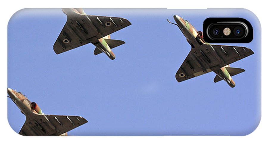 Aircraft IPhone X Case featuring the photograph Skyhawk Fighter Jet In Formation by Nir Ben-Yosef