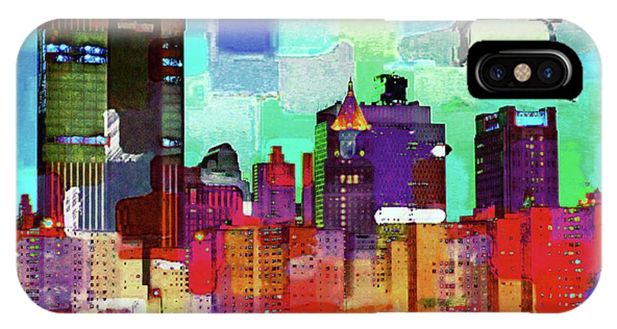 Abstract IPhone X Case featuring the mixed media Skyline by Sean Dorazio