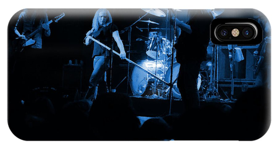 Lynyrd Skynyrd IPhone X Case featuring the photograph Skynyrd Sf 1975 #10 Crop 2 Enhanced In Blue by Ben Upham