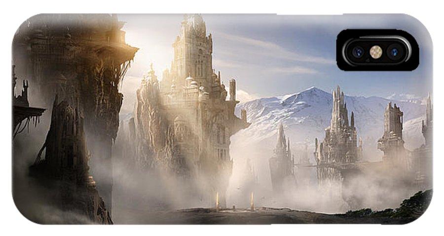 Game Art IPhone X Case featuring the digital art Skyrim Fantasy Ruins by Alex Ruiz