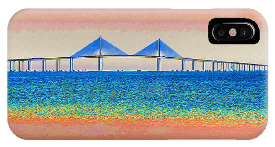 Art IPhone X Case featuring the painting Skyway Morning by David Lee Thompson
