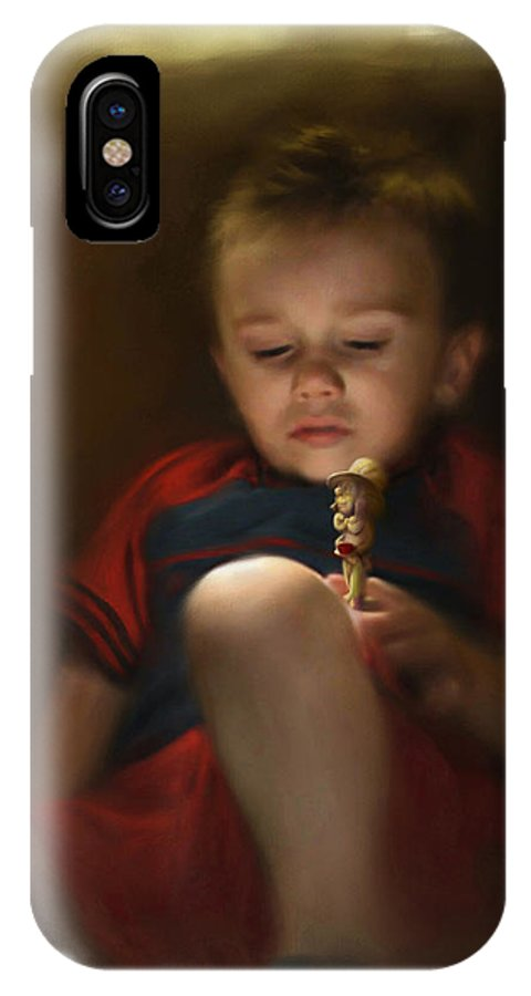 Boy. Figure IPhone X Case featuring the digital art Sleep Off to Wonderland by Stephen Lucas
