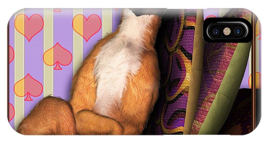 Dog IPhone X Case featuring the digital art Sleeping II by Nik Helbig