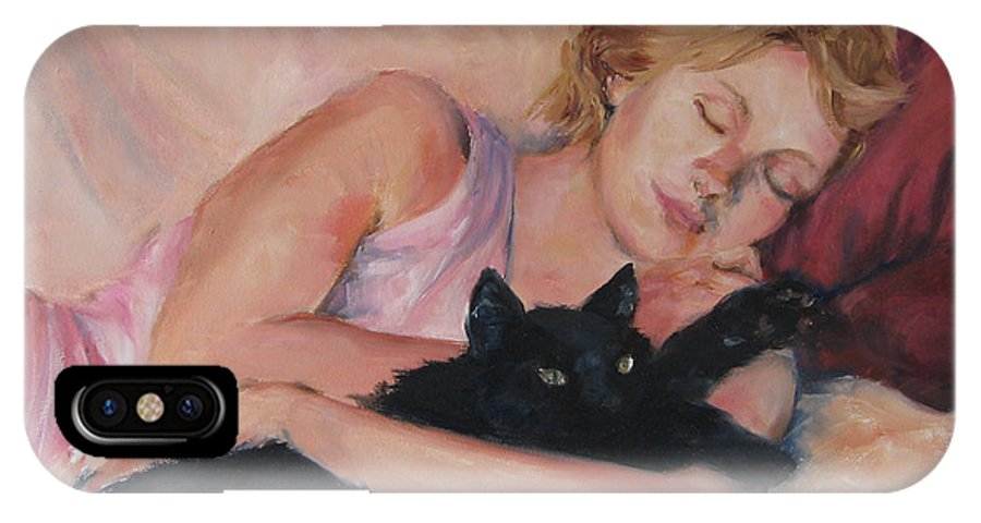 Portrait IPhone X Case featuring the painting Sleeping With Fur by Connie Schaertl