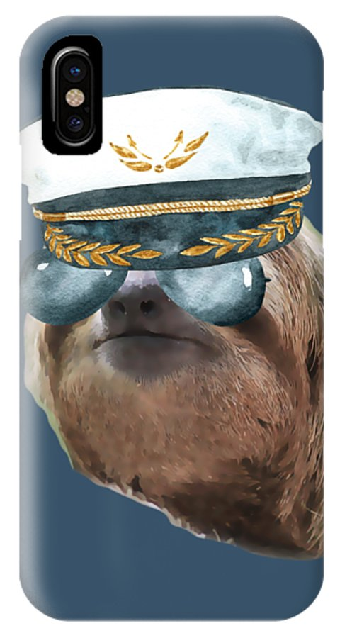 Sloth IPhone X Case featuring the digital art Sloth Aviator Glasses Captain Hat Sloths In Clothes by Trisha Vroom