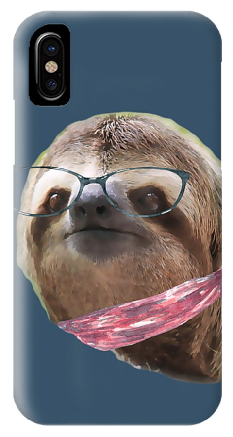Sloth IPhone X Case featuring the digital art Sloth Black Glasses Red Scarf Sloths In Clothes by Trisha Vroom