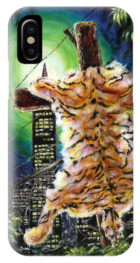 Tiger IPhone X Case featuring the painting Slough... What I Have Left Behind The Fence To Survive In This Strange City by Hiroko Sakai
