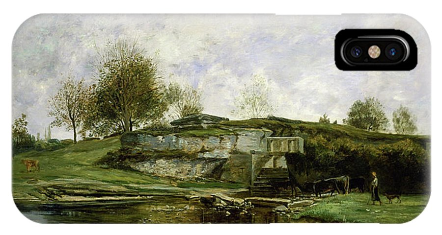 Animal IPhone X Case featuring the painting Sluice In The Optevoz Valley by Charles-Francois Daubigny