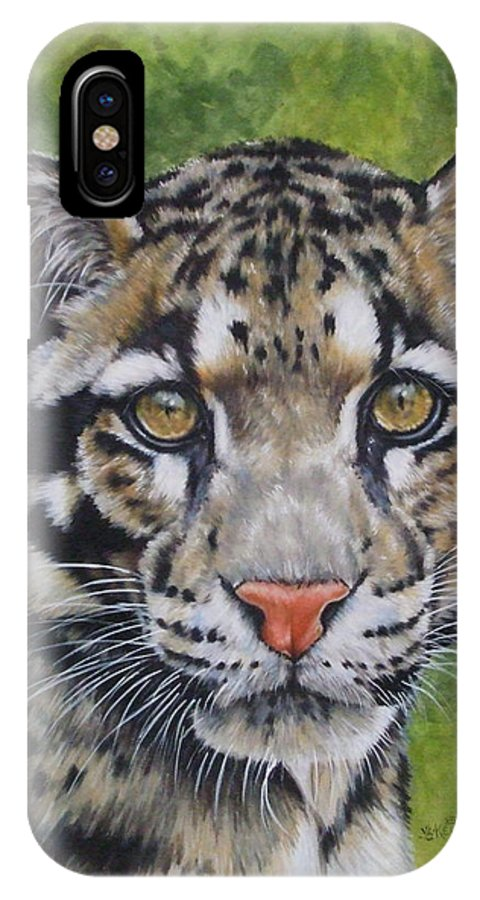 Clouded Leopard IPhone X Case featuring the mixed media Small But Powerful by Barbara Keith