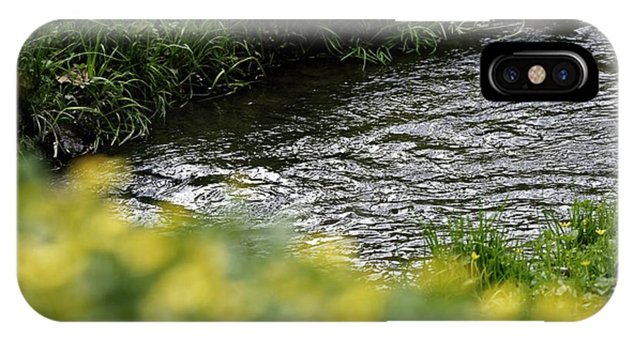 Background IPhone X Case featuring the photograph Small River With Shore Grass by Adrian Bud