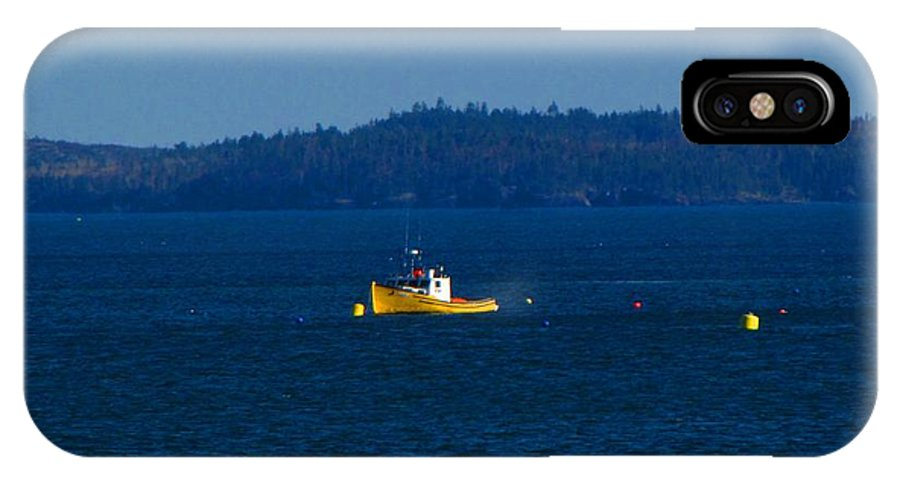 Boat IPhone X Case featuring the photograph Small Yellow Boat by Melissa Parks