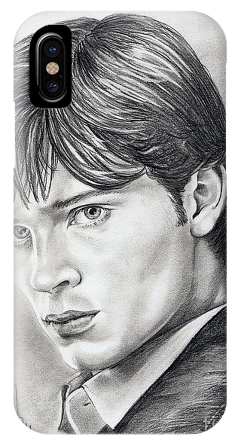 Superman IPhone X Case featuring the drawing Smallville Tom Welling by Murphy Elliott