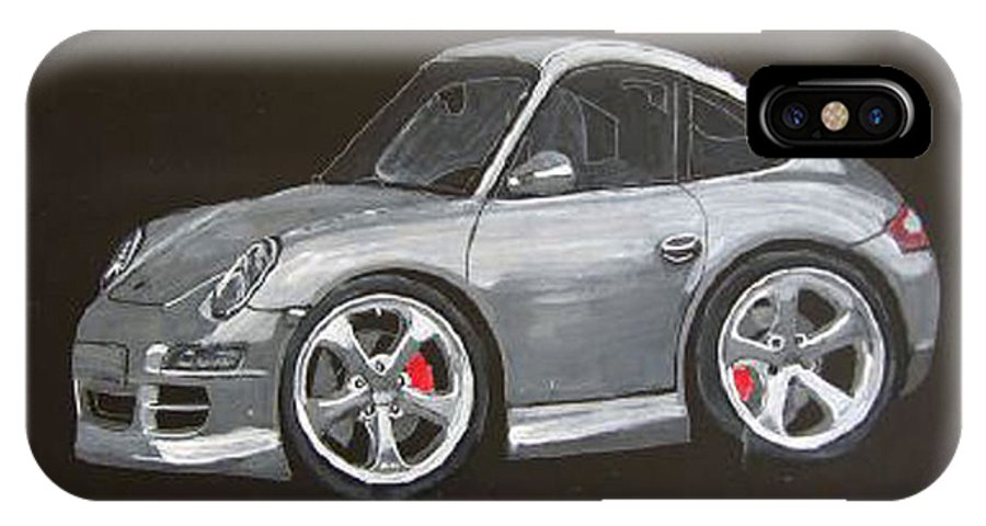 Car IPhone X Case featuring the painting Smart Porsche by Richard Le Page
