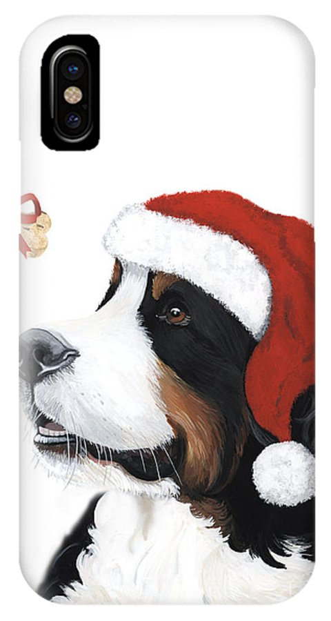 Bernese Mountain Dog IPhone X Case featuring the painting Smile Its Christmas by Liane Weyers