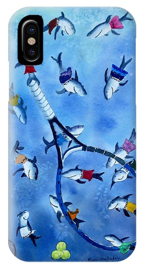 Smiling Sharks IPhone X Case featuring the painting Smiling Tennis Sharks by Prentiss Halladay