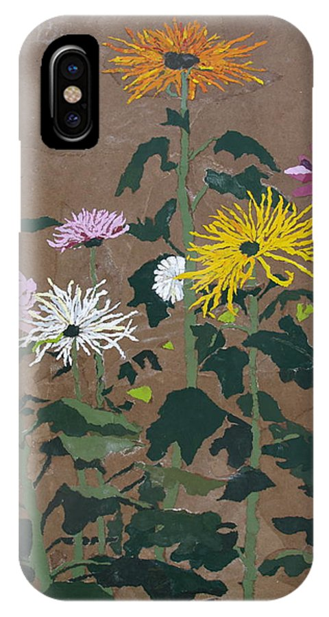 Collage IPhone X Case featuring the painting Smith's Giant Chrysanthemums by Leah Tomaino
