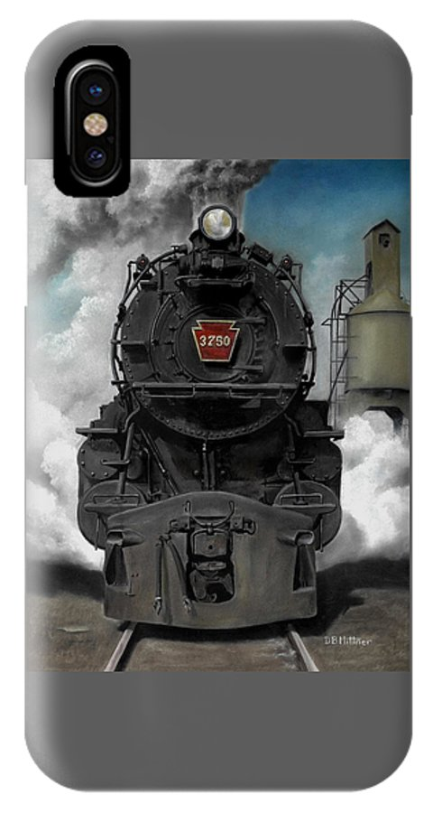 Trains IPhone X Case featuring the painting Smoke And Steam by David Mittner