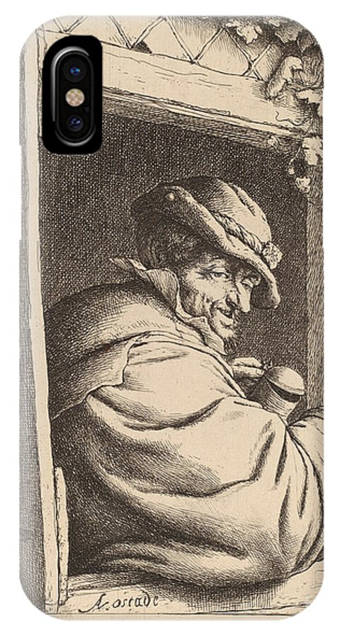 IPhone X Case featuring the drawing Smoker At A Window by Adriaen Van Ostade
