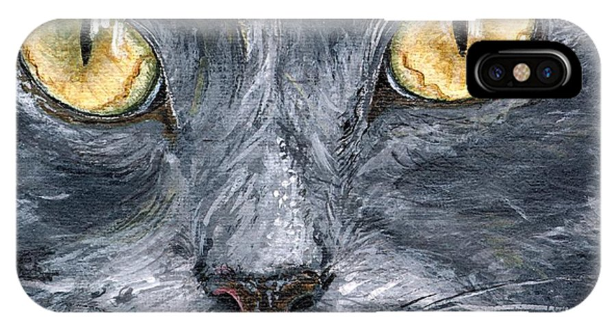 Charity IPhone Case featuring the painting Smokey by Mary-Lee Sanders