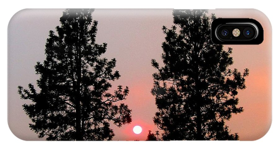 Smoke IPhone X Case featuring the photograph Smokey Okanagan Sunset by Will Borden