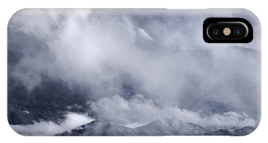 Smoky IPhone X Case featuring the photograph Smoky Mountain Vista In B And W by Steve Gadomski