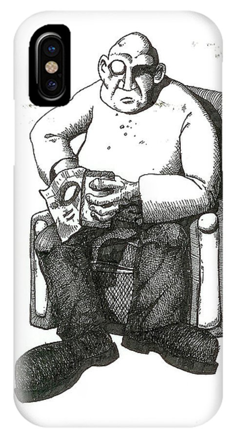 Buddha IPhone X Case featuring the drawing Snacks by Tobey Anderson