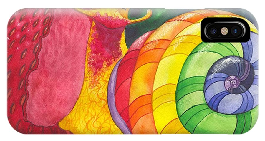 Humor IPhone X Case featuring the painting Snail Nirvana by Catherine G McElroy