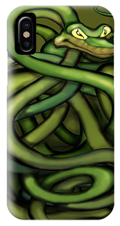 Snake IPhone X Case featuring the painting Snakes by Kevin Middleton