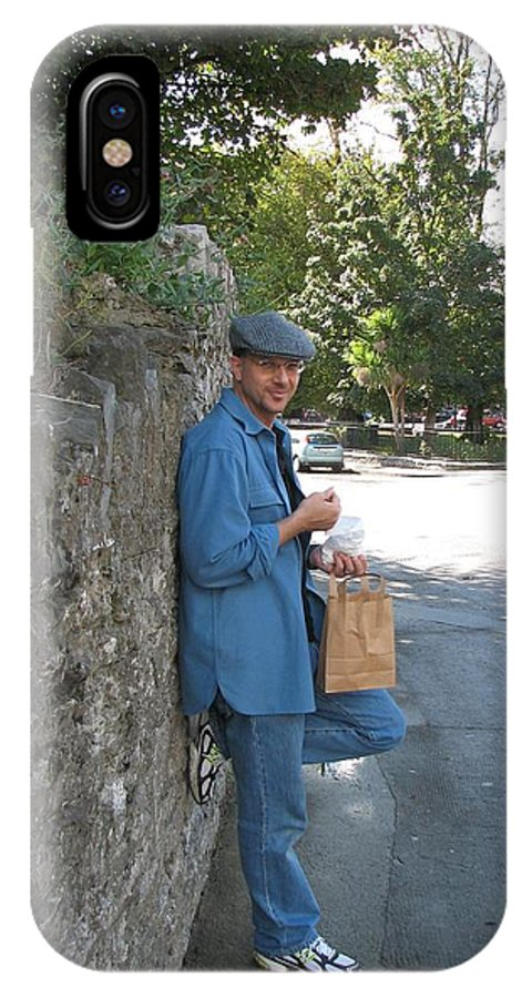 Hat IPhone X Case featuring the photograph Sneaking a Snack by Kelly Mezzapelle