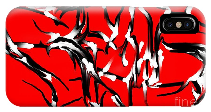 Abstract IPhone X Case featuring the digital art Snoopys Dance by David Lane