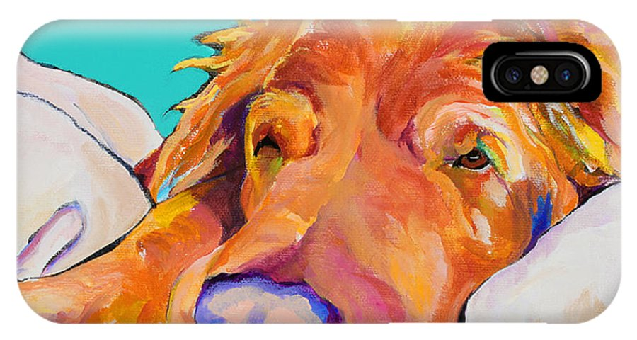Dog Poortraits IPhone X Case featuring the painting Snoozer King by Pat Saunders-White