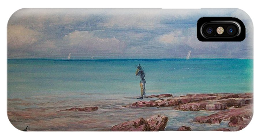 Seascape IPhone Case featuring the painting Snorkling In Aruba by Perrys Fine Art