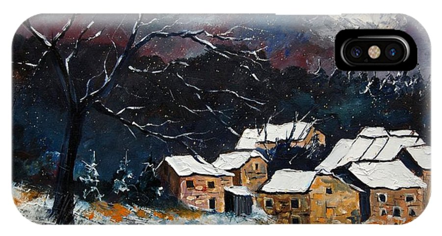 Snow IPhone X Case featuring the painting Snow 57 by Pol Ledent