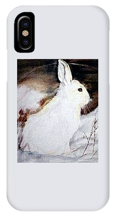 Snowshoe Hare IPhone X / XS Case featuring the painting Snow Bunny by Debra Sandstrom