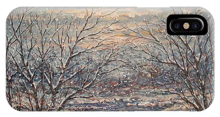 Landscape IPhone X Case featuring the painting Snow By Brook. by Leonard Holland