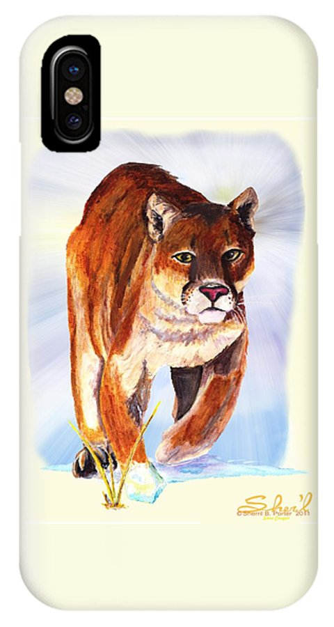 : Wildlife IPhone X Case featuring the painting Snow Cougar by Sherril Porter