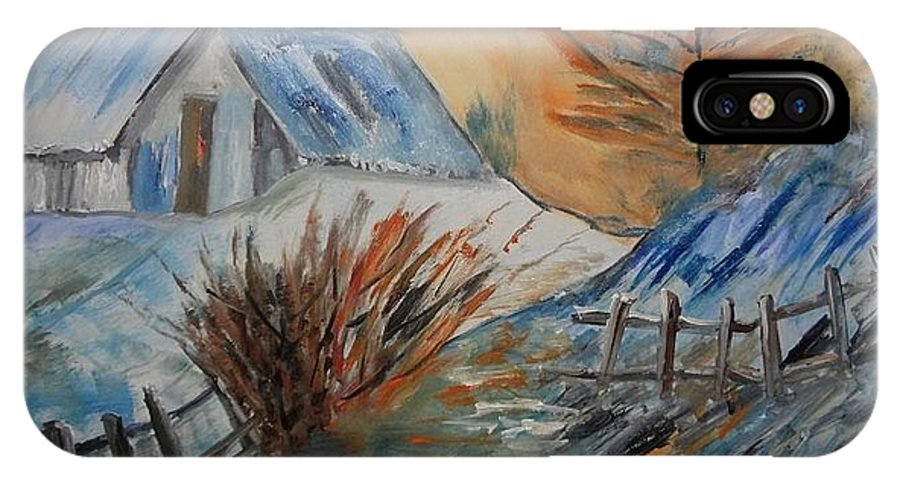 Landscape IPhone X Case featuring the painting Snow House by Murali S