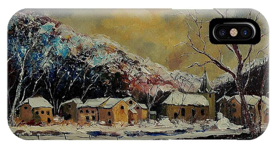 Winter IPhone X Case featuring the painting Snow In Bohan by Pol Ledent