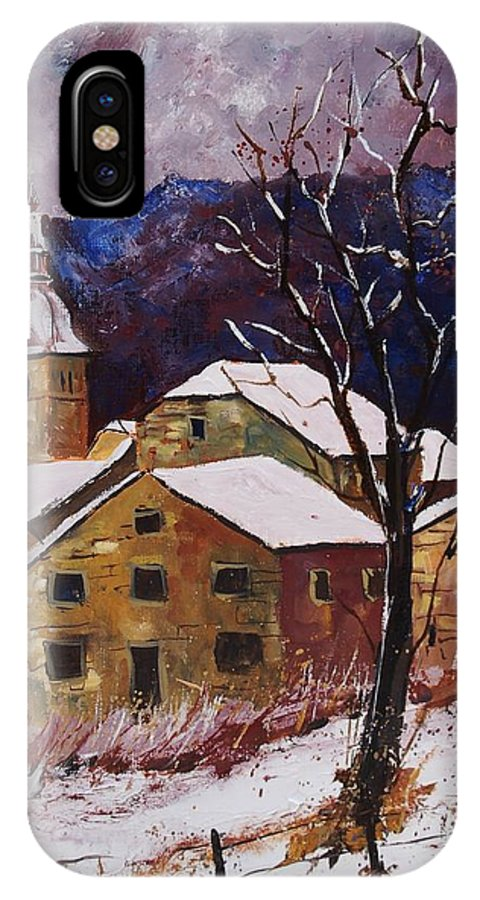 Landscape IPhone Case featuring the painting Snow In Chassepierre by Pol Ledent