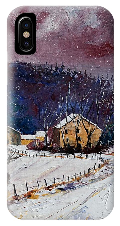 Landscape IPhone X Case featuring the painting Snow In Sechery by Pol Ledent
